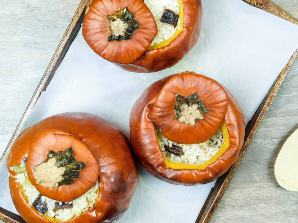 Stuffed Pumpkin with Rice and Mushroom