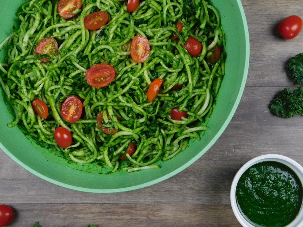 Zucchini Noodles with Kale Pesto